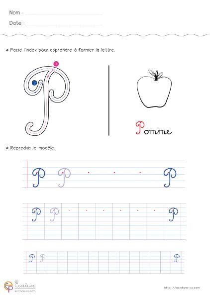 Wonderful Écrire l'alphabet Majuscule cursive CP CE1 | Fiche d'écriture PDF WU62